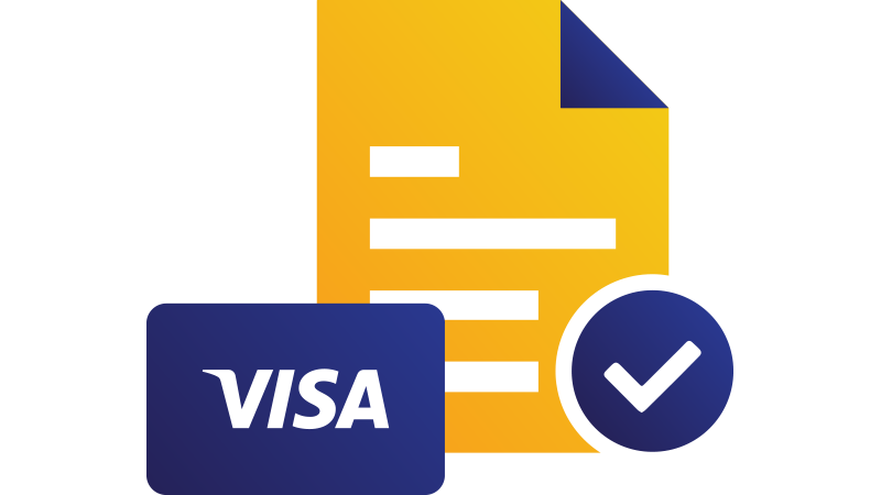 Illustration: Visa card overlapping paper page with checkmark at bottom.